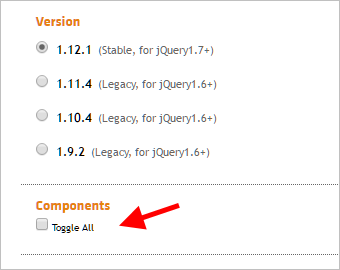 jQuery UI の Components 選択画面