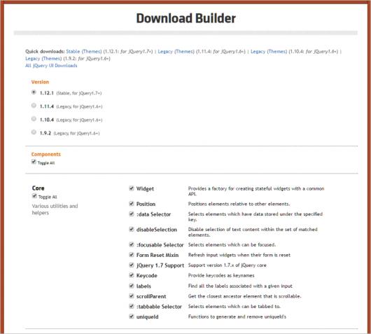 jQuery UI のダウンロードページ
