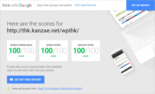 Mobile Website Speed Testing Tool でオール100